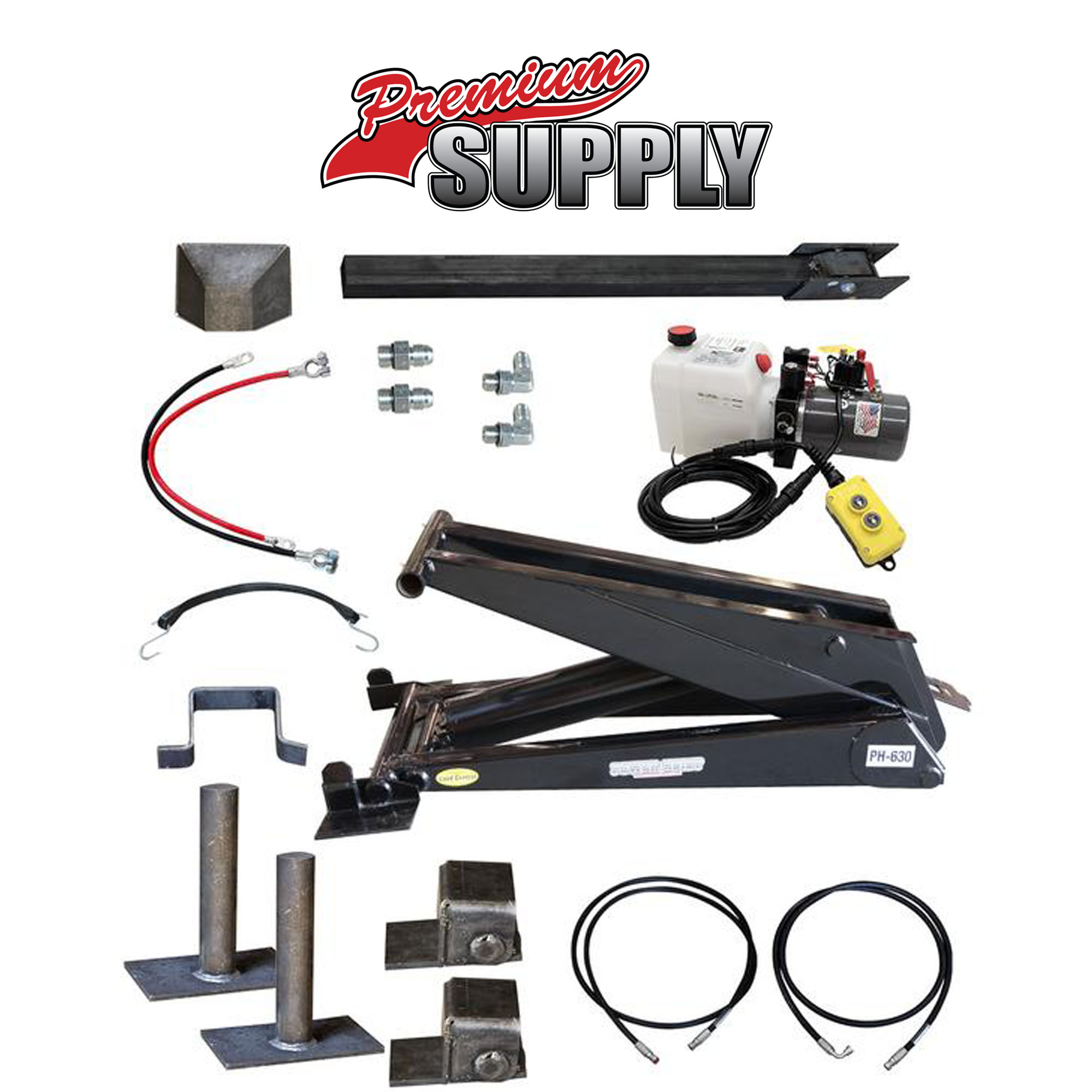 12 Ton (24,000 lb) Dump Trailer Hydraulic Scissor Hoist Kit - PH630 - Premium Supply