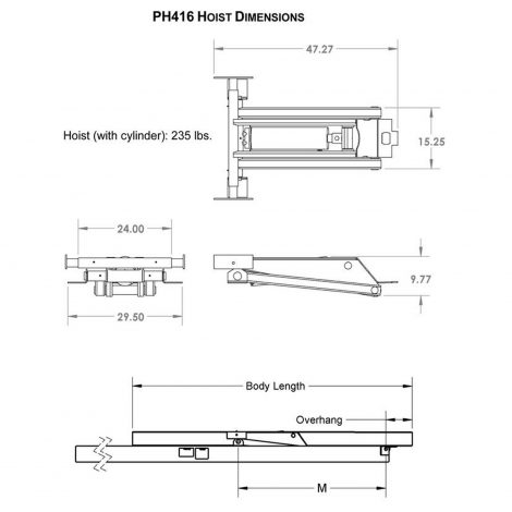 6 Ton (12,000 lb) Hydraulic Dump Trailer Scissor Hoist Dimensions - Model PH416, Premium Supply