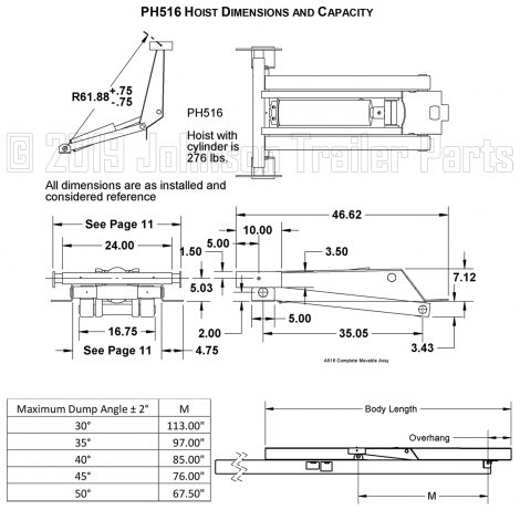 PH516 Hoist Dimensions