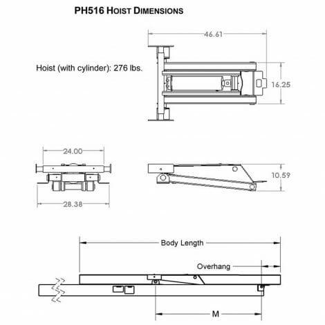 8 Ton (16,000 lb) Hydraulic Power Hoist Dimensions - Model PH516, Premium Supply
