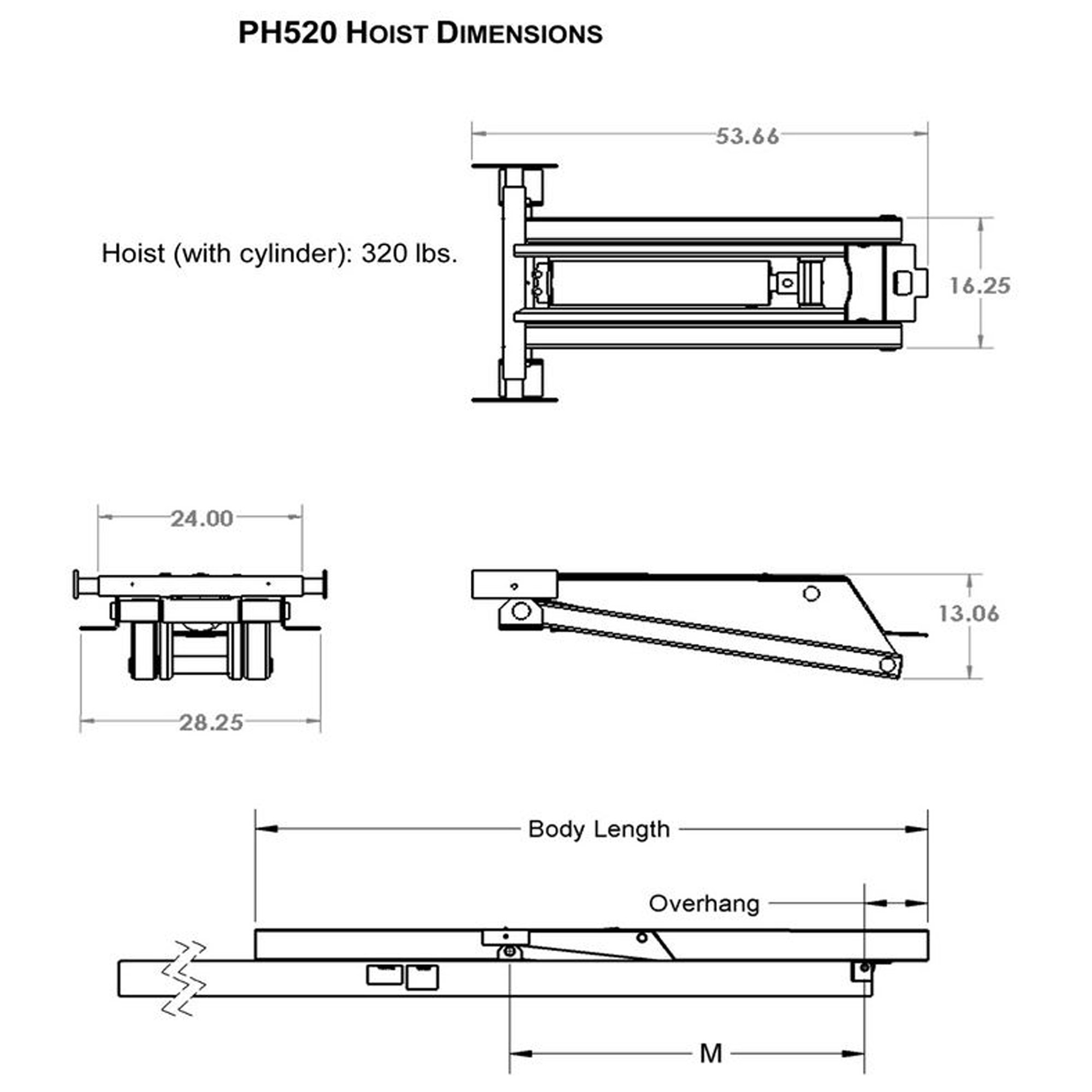 10 ton 20000 lb dump trailer hydraulic scissor hoist kit ph520 10 ton 20000 lb dump trailer hydraulic power hoist dimensions model ph520 diagram asfbconference2016 Choice Image