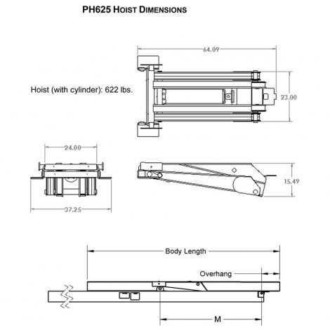 12 ton 24 000 lb dump trailer hydraulic scissor hoist. Black Bedroom Furniture Sets. Home Design Ideas