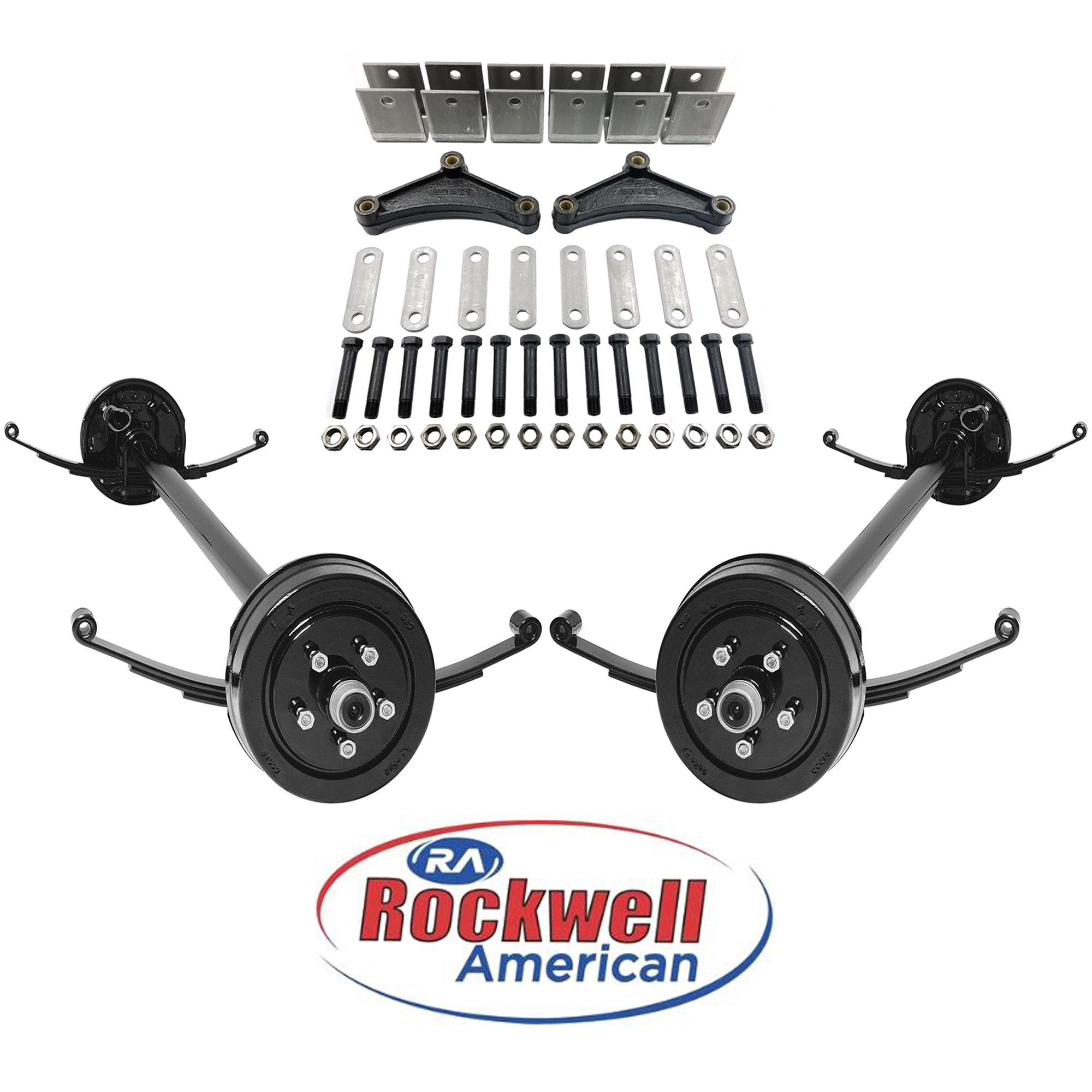 Includes Trailer Tires /& Wheels Rockwell American Tandem 5,200 lb Electric Brake Trailer Axle Kit 84 Hubface - 70 Spring Center