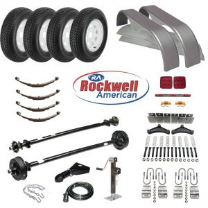 Tandem Axle Trailer Parts Kit - 7,000 lb Capacity - Electric Brakes on 1 Axle - Rockwell American Axles with Posi-Lube Spindles and Premium Powder Coat Finish