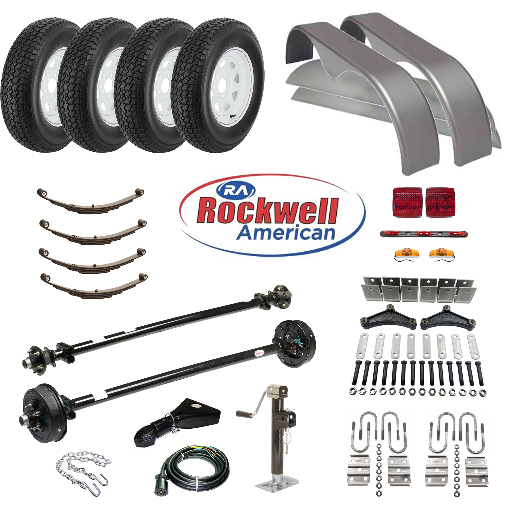 Tandem Axle Trailer Parts Kit - 7,000 lb Capacity - Brakes on 1 Axle