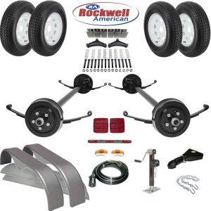 Tandem Axle Trailer Parts Kit - 7,000 lb Capacity - Rockwell American Axles with Posi-Lube Spindles and Premium Powder Coat Finish