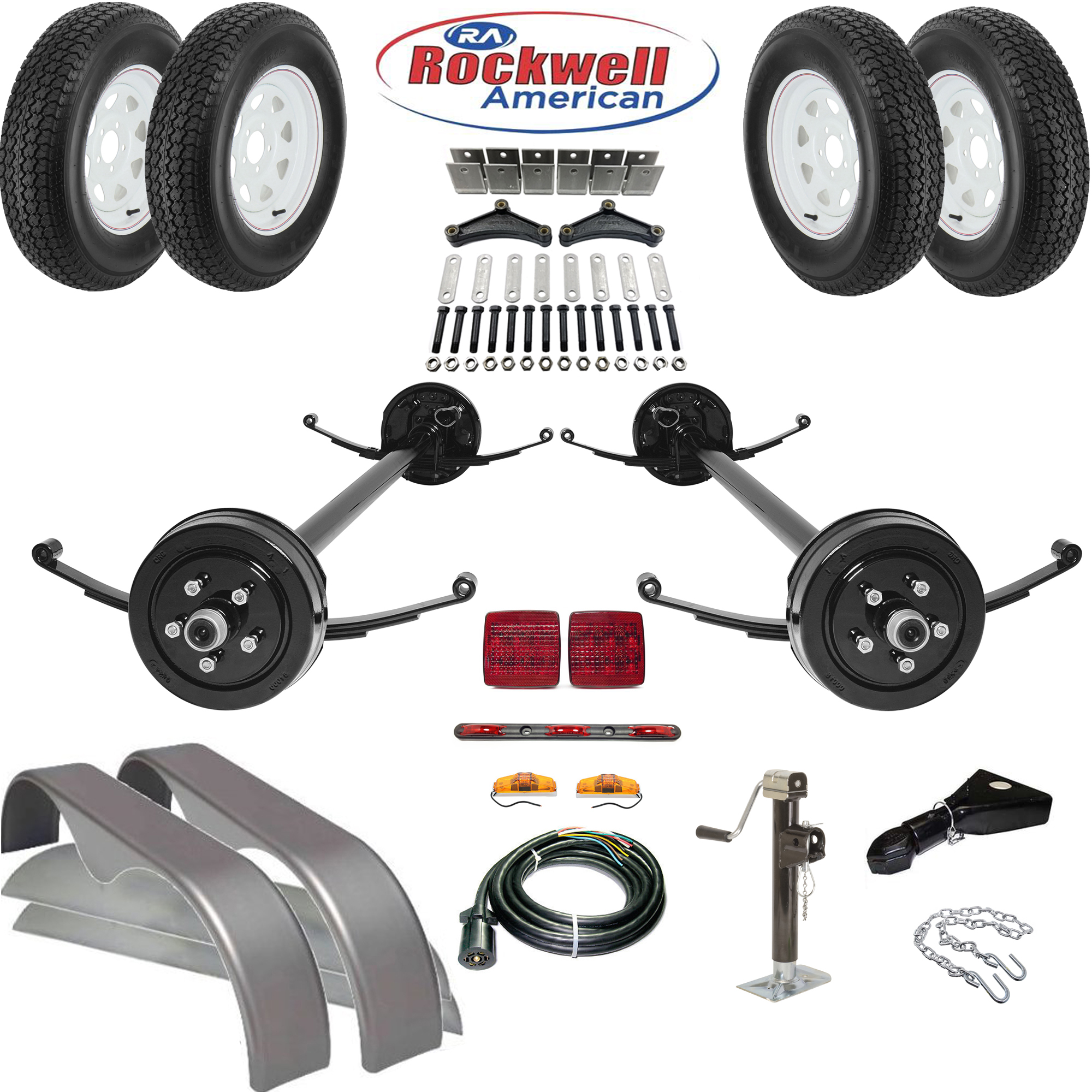 Tandem Brake Axle Trailer Parts Kit 7000 Lb Capacity Johnson Double Wiring Diagram Rockwell American Axles With Posi