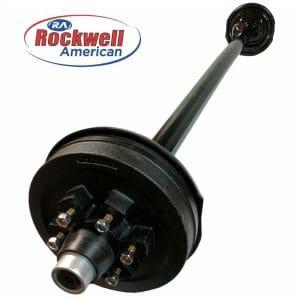 5,200 lb Electric Trailer Brake Axle - Rockwell American Posi-Lube Spindles - Powder Coated Axle - 6 Lug