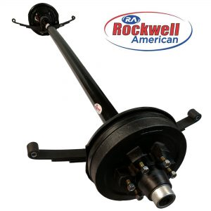 5,200 lb Electric Trailer Brake Axle with Double Eye Springs & Ubolts - Rockwell American Posi-Lube Spindles - Powder Coated Axle - 6 Lug