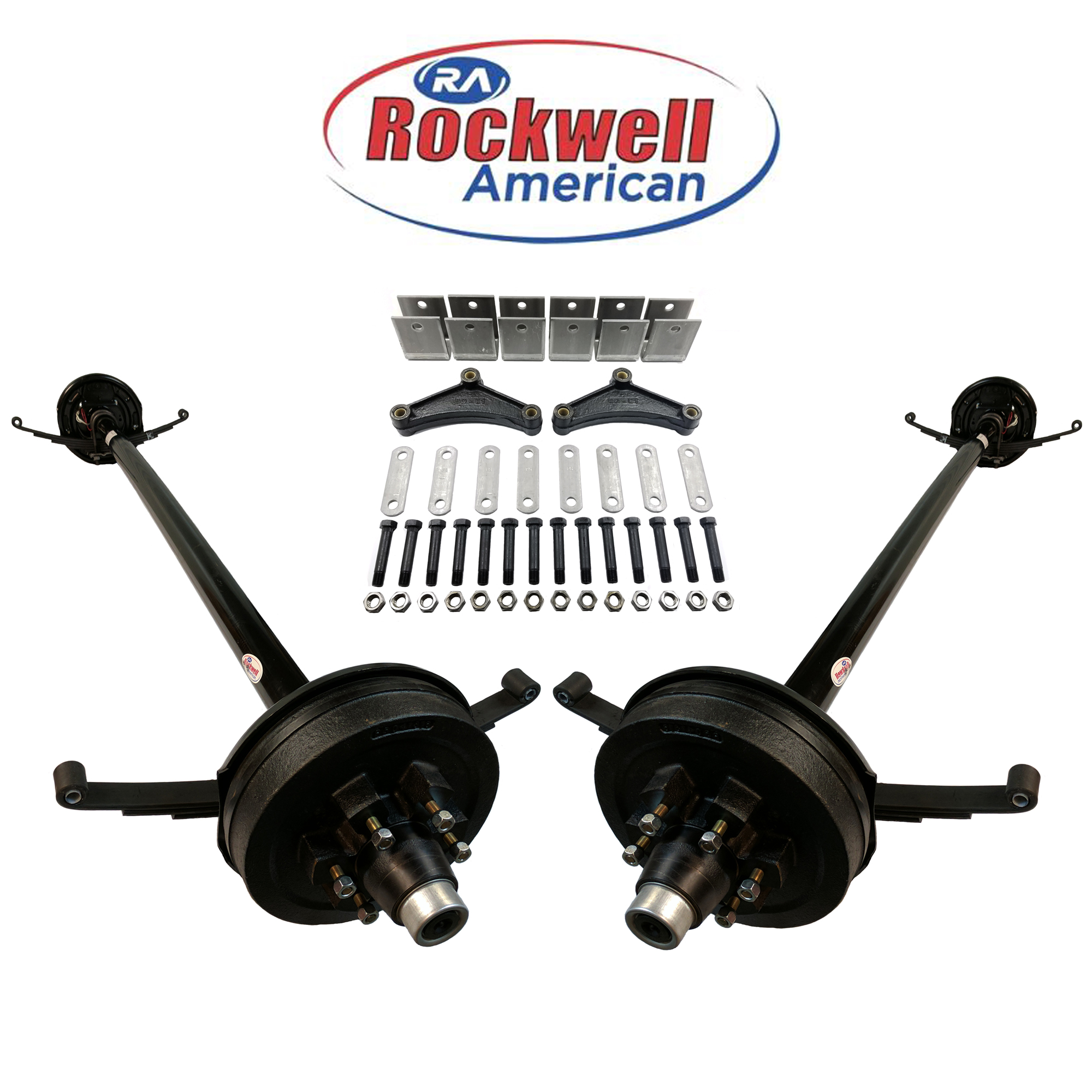 Tandem 5,200 lb Electric Trailer Brake Axles with Double Eye Springs & Ubolts - Rockwell American Posi-Lube Spindles - Powder Coated Axles - 6 Lug