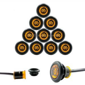 "10 Pack - 3/4"" Amber Side Marker LED Lights (P2 Rated)"