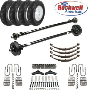 Tandem 3,500 lb Axle Kit with Wheels & Tires | Brakes on 1 Axle