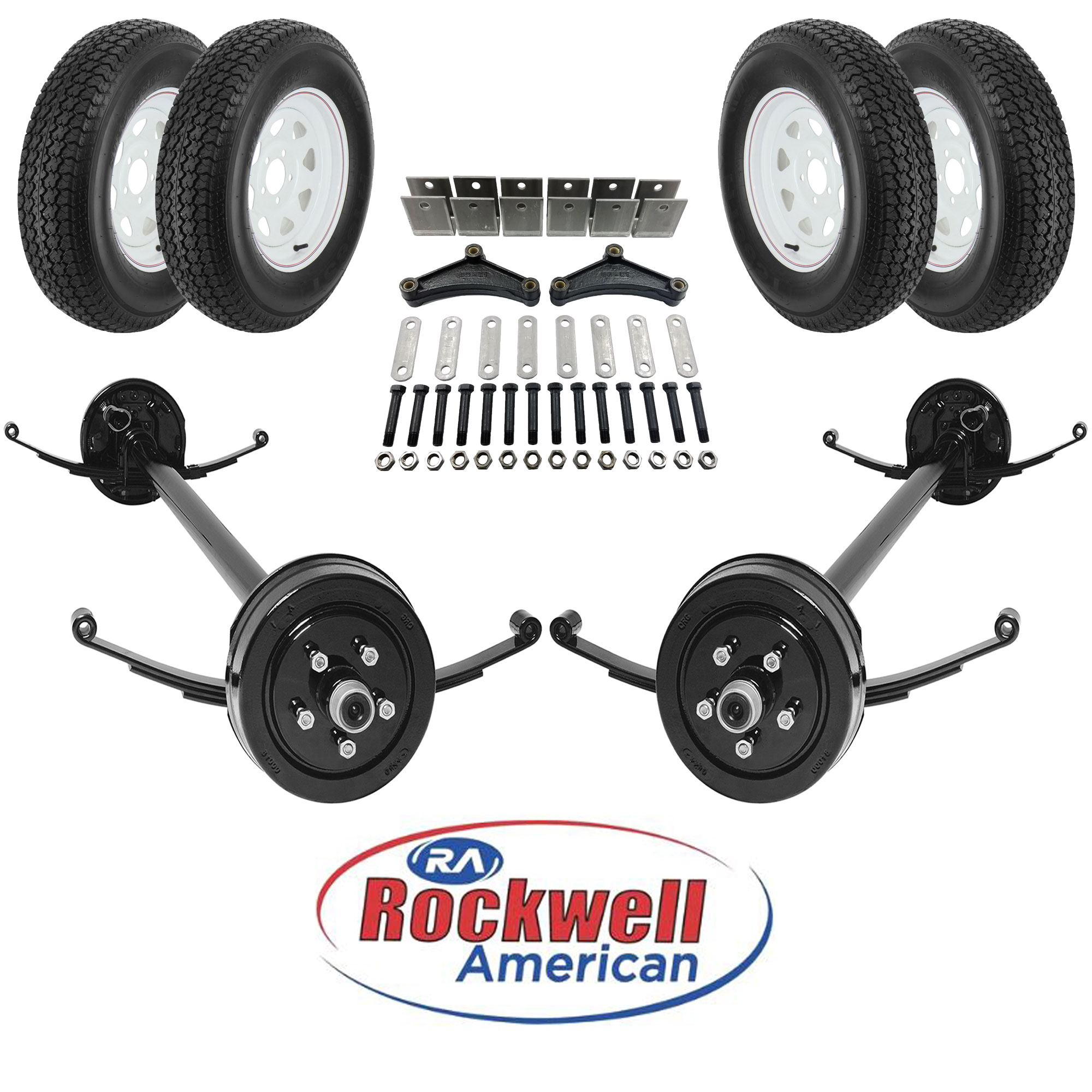 Tandem 3,500 lb Axle Running Gear Set with Wheels and Tires