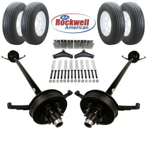 Tandem 5,200 lb Electric Brake Trailer Axle Kit with Wheels & Tires