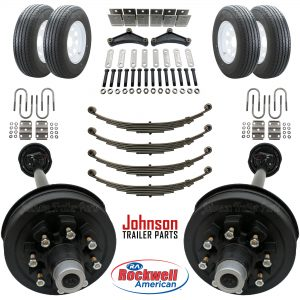 Tandem 7,000 lb Electric Brake Trailer Axle Kit w/ Wheels & Tires