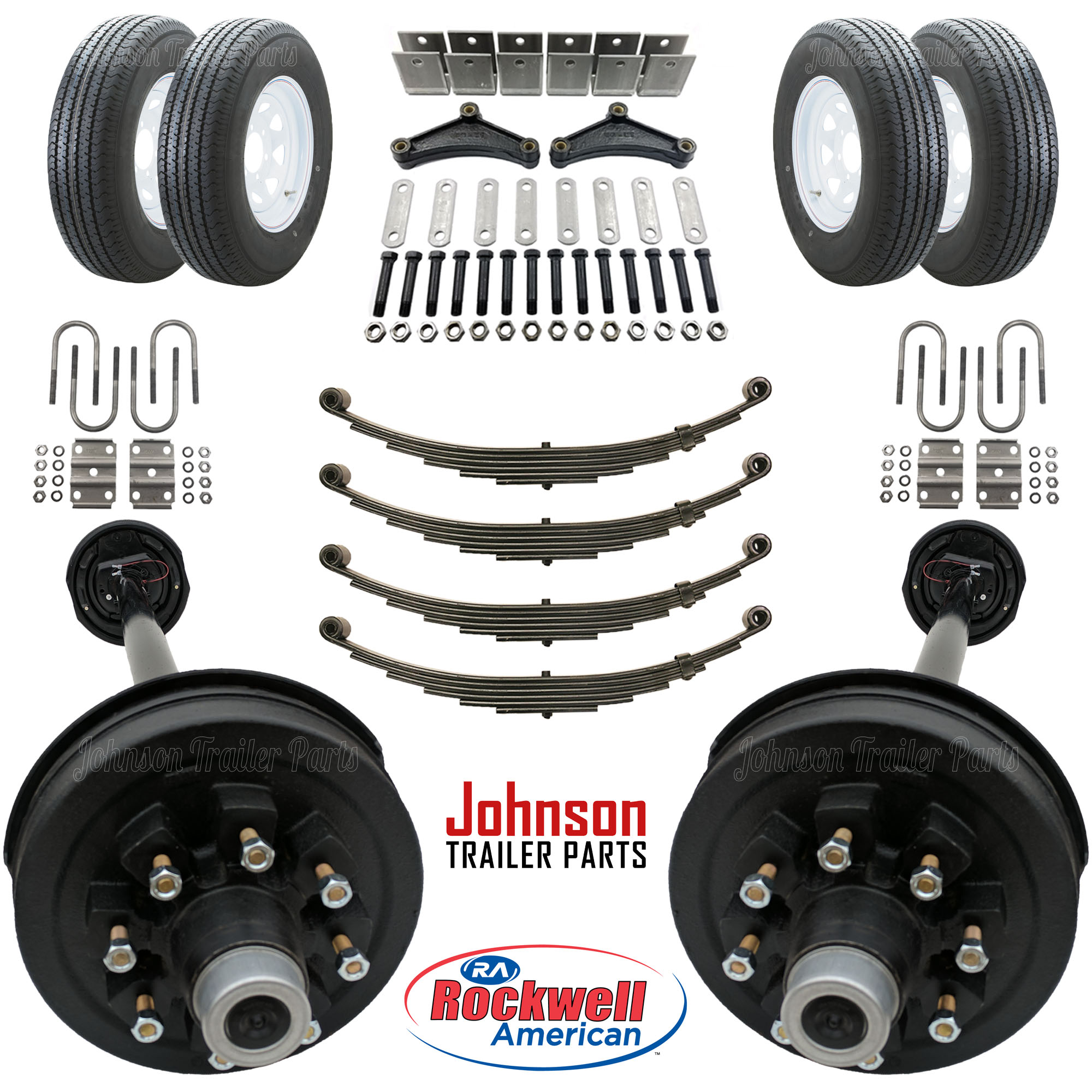 Wheel Axle Kits : Tandem lb electric brake trailer axle kit w wheels