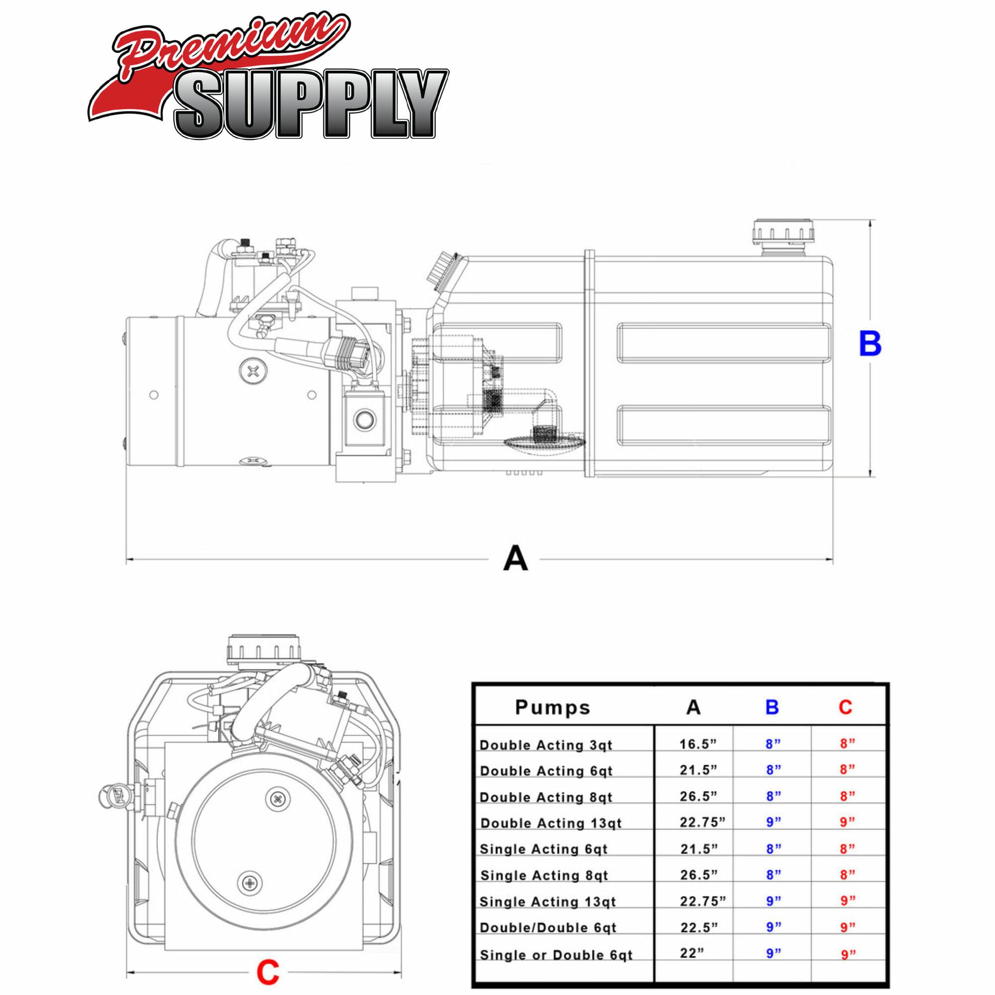8 Quart 12v Kti Single Acting Hydraulic Pump Johnson Trailer Parts