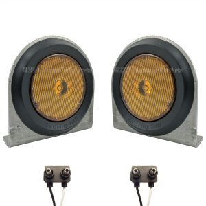 "2 Pack - 2.5"" Amber LED Side Markers with Steel Brackets"
