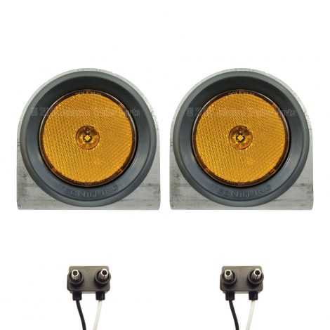 """2 Pack - 2.5"""" Amber LED Side Markers with Steel Brackets"""