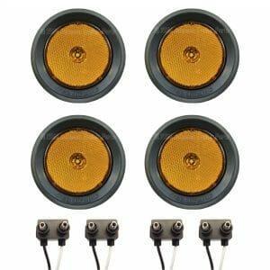 """4 Pack - 2.5"""" Grommet Mount Amber LED Side Markers"""