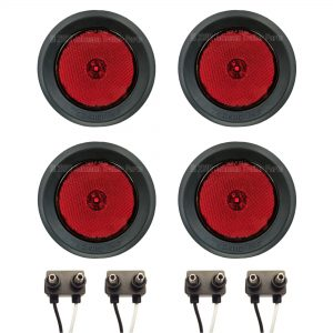 "4 Pack - 2.5"" Grommet Mount Red LED Side Markers"