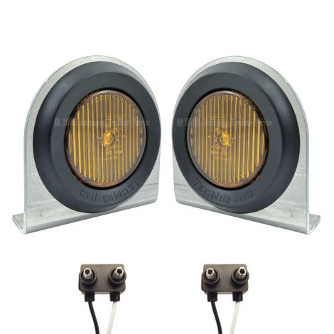 "2 Pack - 2"" Amber LED Side Markers with Steel Brackets"