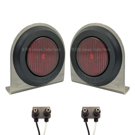 """2 Pack - 2"""" Red LED Side Markers with Steel Brackets"""