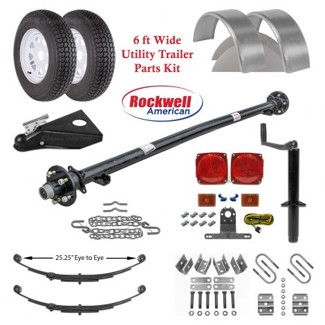 6ft Utility Trailer Parts Kit - Rockwell American Trailer Axle - 3,500 lb Capacity